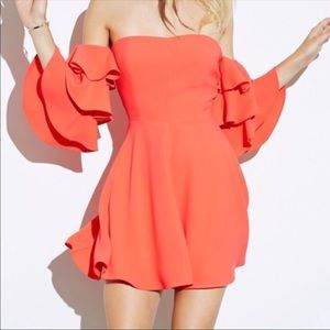 AMANDA UPRICHARD ORANGE SHELBY DRESS